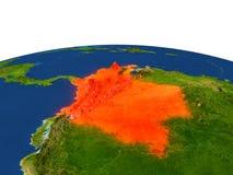 Colombia en rojo de la órbita stock de ilustración