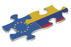 Colombia and EU puzzles from flags Stock Photography