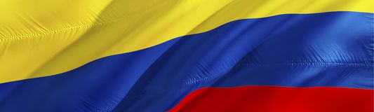 Colombia flag. Flag of Colombian. 3D Waving flag design,3D rendering. The national symbol of Colombian background wallpaper. 3D. Ribbon, wallpaper, pattern royalty free stock images