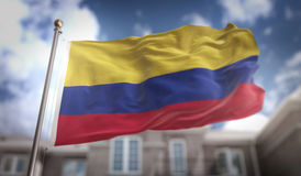 Colombia Flag 3D Rendering on Blue Sky Building Background. Digital Art royalty free stock photography