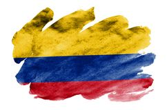 Colombia flag is depicted in liquid watercolor style isolated on white background. Careless paint shading with image of national flag. Independence Day banner stock photo