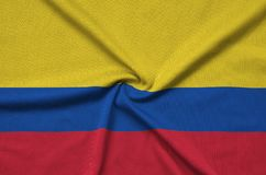 Colombia flag is depicted on a sports cloth fabric with many folds. Sport team banner. Colombia flag is depicted on a sports cloth fabric with many folds. Sport stock illustration