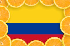 Colombia flag in fresh citrus fruit slices frame. Colombia flag in frame of orange citrus fruit slices. Concept of growing as well as import and export of citrus vector illustration