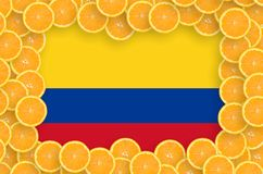 Colombia flag in fresh citrus fruit slices frame. Colombia flag in frame of orange citrus fruit slices. Concept of growing as well as import and export of citrus stock illustration