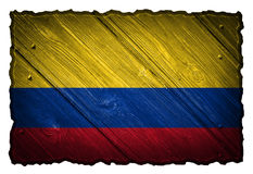 Colombia flag. Painted on wooden tag royalty free stock photos