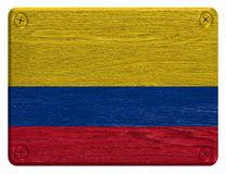 Colombia flag. Painted on wooden tag stock photos
