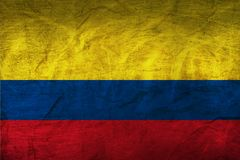 Colombia Flag on Paper. Flag on an old Paper Texture Royalty Free Stock Photography