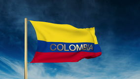 Colombia flag slider style with title. Waving in stock video
