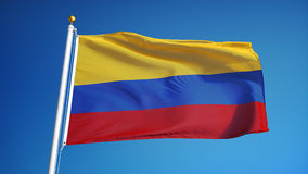 Colombia flag in slow motion seamlessly looped with alpha stock footage