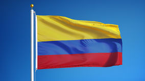 Colombia flag in slow motion seamlessly looped with alpha stock video footage