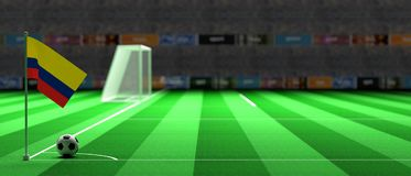 Colombia flag on a soccer field. 3d illustration. Colombia flag on a soccer football field. 3d illustration Stock Photo