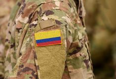 Colombia flag on soldiers arm. Republic of Colombia troops collage. Colombia flag on soldiers arm. Republic of Colombia troops. collage stock photos