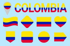 Colombia flag vector set. Geometric shapes. Flat style. Colombian natioanl symbols collection. sports, national, travel, royalty free illustration