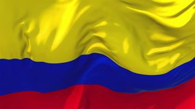 Colombia Flag Waving in Wind Continuous Seamless Loop Background.