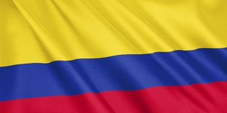 Colombia flag waving with the wind. vector illustration
