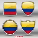 Colombia flagga i samling för 4 former med den snabba banan Arkivfoto