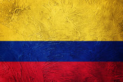 colombia flaggagrunge Colombiansk flagga med grungetextur Arkivbild
