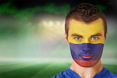 Colombia football fan in face paint Royalty Free Stock Photos