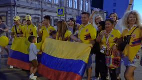 Colombia football fans celebrating the victory stock video footage