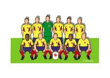 Colombia fotbollslag 2018 Vektor Illustrationer