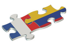Colombia and France puzzles from flags Royalty Free Stock Photography