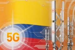 Colombia 5G industrial illustration, huge cellular network mast or tower on digital background with the flag - 3D Illustration. Colombia 5G network industrial royalty free illustration