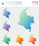 Colombia geometric polygonal maps, mosaic style. Colombia geometric polygonal maps, mosaic style country collection. Elegant low poly style, modern design stock images