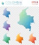 Colombia geometriska polygonal översikter, mosaikstil Arkivbilder