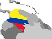 Colombia on globe with flag Stock Photography