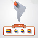 Colombia info card. Colombia on the map of South America with flags Stock Image