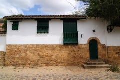 Colombia kolonial arkitektur av Villa de Leyva arkivbilder