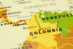 Colombia on map. Close up of Bogota, Colombia on map Royalty Free Stock Images