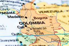 Colombia on a map. Close up of a world map with Colombia in focus royalty free stock photo