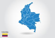 Colombia map design with 3D style. Blue colombia map and National flag. Simple vector map with contour, shape, outline, on white vector illustration