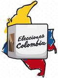Colombia Map and Electoral Urn for Elections Event, Vector Illustration. Colombia map over tricolor brushstrokes and electoral box that represent the election Stock Photo