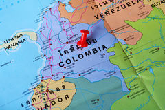 Colombia map. Macro shot of colombia map with push pin Stock Photography
