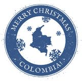 Colombia map. Vintage Merry Christmas Colombia. Colombia map. Vintage Merry Christmas Colombia Stamp. Stylised rubber stamp with county map and Merry Christmas Royalty Free Stock Photography