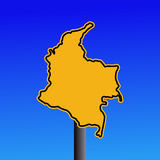 Colombia map warning sign Royalty Free Stock Photography