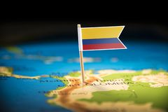 Colombia marked with a flag on the map.  stock photography