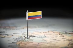 Colombia marked with a flag on the map.  stock photo