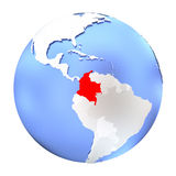 Colombia on metallic globe isolated. Map of Colombia on metallic globe. 3D illustration isolated on white background Royalty Free Stock Images