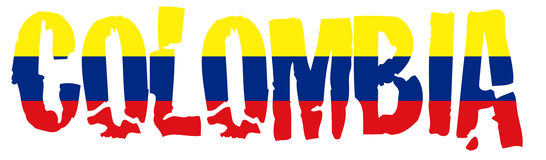 Colombia name with flag. Illustration of the Colombia flag and name Stock Image