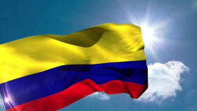 Colombia national flag blowing in the breeze stock footage