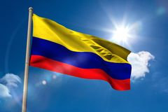 Colombia national flag on flagpole Royalty Free Stock Image