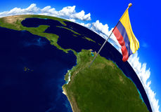 Colombia national flag marking the country location on world map. 3D rendering Royalty Free Stock Photography