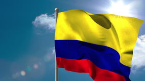 Colombia national flag waving on flagpole stock video footage