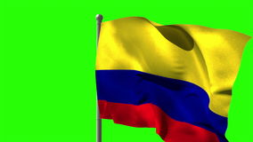 Colombia national flag waving on flagpole stock footage