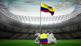 Colombia national flag waving in football stadium stock video footage
