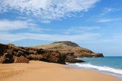 Colombia, Pilon de azucar beach in La Guajira. Colombia, wild coastal desert of Penisula la Guajira near the Cabo de la Vela resort. The picture present stock photography
