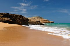 Colombia, Pilon de azucar beach in La Guajira. Colombia, wild coastal desert of Penisula la Guajira near the Cabo de la Vela resort. The picture present stock photos